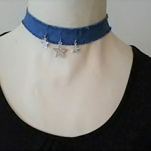 Jewelry - Denim Choker Necklace Crystal Silver Stars